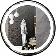 Badezimmerspiegel LED, Rund Metallbordüre