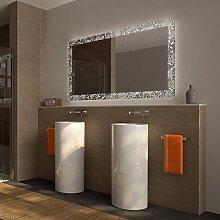 Badezimmerspiegel mit Licht Rosenmeer - B 1400mm x H 800mm - warmweiss