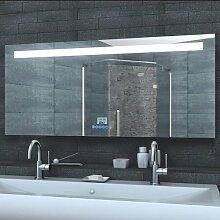 Badezimmerspiegel Wandspiegel Lichtspiegel LED Beleuchtung Uhr Radio MP3 und TOUCH SCHALTER 140 x 60 cm - LMP14060