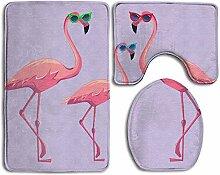 Badezimmerteppich-Set Flamingos Schultertasche mit