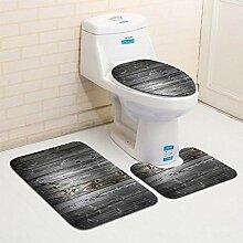 Badezimmerteppich-Set mit Holzmaserung,