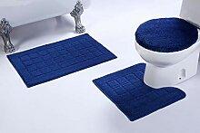 Badezimmerteppich-Set mit quadratischem Muster,