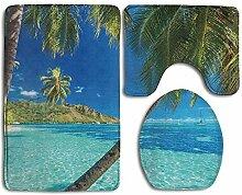 Badezimmerteppich-Set, Motiv Tropische Insel mit
