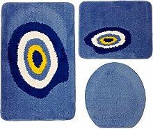 Badgarnitur 3-teilig blau weiß, Motiv Nazar