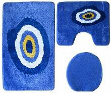 Badgarnitur 3-teilig blau weiß, Motiv