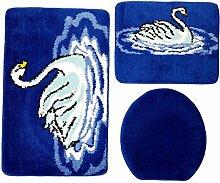 Badgarnitur 3-teilig blau weiß, Motiv Schwan,
