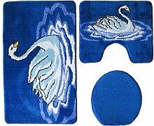 Badgarnitur 3-teilig blau weiß, Motiv Schwan, mit