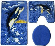 Badgarnitur 3-teilig blau weiß schwarz, Motiv Wal