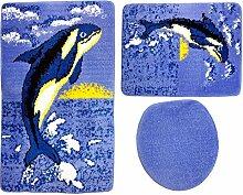 Badgarnitur 3-teilig blau weiß schwarz Wal / Orca