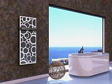 Badheizkörper Design Kreta 2, HxB: 120 x 47 cm, 799 Watt, dunkelgrau (metallic) / weiß + 1 Handtuchhalter (50mm) (Marke: Szagato) Made in Germany / Top-verarbeiteter Bad und Wohnraum-Heizkörper (Mittelanschluss)