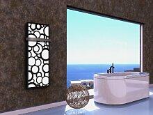 Badheizkörper Design Kreta 2, HxB: 120 x 47 cm, 799 Watt, weiß / schwarz (matt) + 1 Handtuchhalter (50mm) (Marke: Szagato) Made in Germany / Top-verarbeiteter Bad und Wohnraum-Heizkörper (Mittelanschluss)