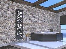 Badheizkörper Design Leaves 3, HxB: 180 x 47 cm, 1118 Watt, weiß / dunkelgrau (metallic) (Marke: Szagato) Made in Germany / Top-verarbeiteter Bad und Wohnraum-Heizkörper (Mittelanschluss)