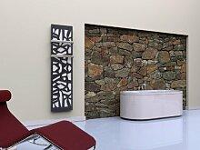 Badheizkörper Design Mosaik 3; HxB: 180 x 47 cm, 1118 Watt, weiß / dunkelgrau (metallic) + 2 Handtuchhalter (50mm) (Marke: Szagato) Made in Germany / moderner Bad und Wohnraum-Heizkörper (Mittelanschluss)