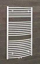 Badheizkörper Mittelanschluss Florenz 113x60 cm Design-Heizkörper Bad gebogen weiß vom Renovierungsprofi, 1 Stück, 4056397001904