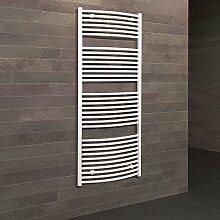 Badheizkörper Seitenanschluss unten Florenz 153x60 cm Design-Heizkörper Bad gebogen weiß vom Renovierungsprofi, 1 Stück, 4056397001867