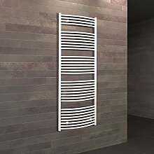 Badheizkörper Seitenanschluss unten Florenz 170x50 cm Design-Heizkörper Bad gebogen weiß vom Renovierungsprofi, 1 Stück, 4056397001720