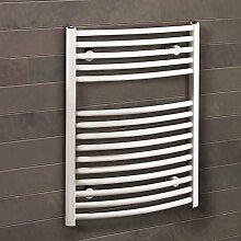 Badheizkörper Seitenanschluss unten Florenz 70x50 cm Design-Heizkörper Bad gebogen weiß vom Renovierungsprofi, 1 Stück, 4056397001843