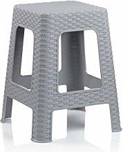 Badhocker Kela Badezimmerhocker Hocker Sitzhocker Kunststoff grau Rattan