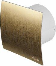 Badlüfter Ø 100 mm Gold gebürstet WEZ mit Rückstauklappe Lüfter Ventilator Deckenlüfter Front Wandlüfter Badventilator Ventilator Einbaulüfter Bad Küche Standar