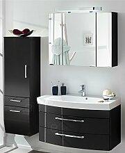 Badmöbel 3-tlg Set Hochglanz anthrazit Badezimmer Waschplatz Spiegelschrank