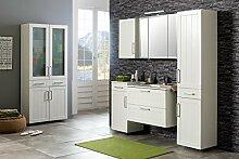 Badmöbel, Badezimmermöbel, Set, Badeinrichtung, Badausstattung, Badezimmereinrichtung, Komplettset, 5-teilig, weiß, Keramikbecken, Spiegelschrank