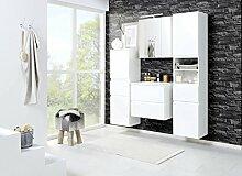 Badmöbel, Badezimmermöbel, Set, Badeinrichtung, Badausstattung, Badezimmereinrichtung, Komplettset, 4-teilig, weiß, Hochglanzfronten