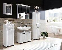 Badmöbel, Badezimmezimmermöbel, Badeinrichtung, Komplettset, Badezimmerausstattung, Pinie weiß-Nachbildung, Spiegel, LED-Beleuchtung, modern, 5-teilig