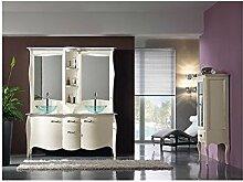 Badmöbel Doppel Möbel Massivholz Handarbeit lackiert mit Spiegel–Wie Foto