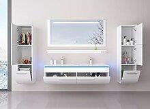 Badmöbel Doppelwaschbecken Set Weiß 120 cm mit 2