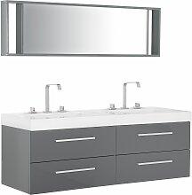 Badmöbel Grau MDF Platte Acryl Glas 48 x 140 x 47