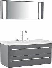 Badmöbel Grau MDF Platte Acryl Glas 92 x 100 x 47
