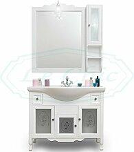 Badmöbel in Landhausstil aus Holz weiß mit Glas matt und Spiegel A Hängeschrank