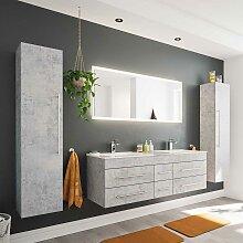 Badmöbel Kombination mit Doppel Waschtisch Beton