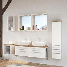 Badmöbel Kombination mit Doppelwaschtisch Weiß