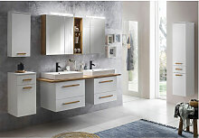 Badmöbel Komplett Set mit 165cm Doppel-Waschtisch
