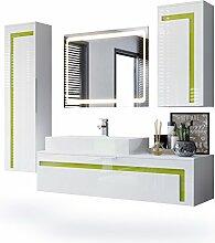 Badmöbel Komplettset Aloha, Korpus in Weiß matt / Fronten in Weiß Hochglanz mit Absetzungen in Limette Hochglanz, mit Aufsatzwaschbecken und LED Spiegel