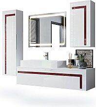 Badmöbel Komplettset Aloha, Korpus in Weiß matt / Fronten in Weiß Hochglanz mit Absetzungen in Bordeaux Hochglanz, mit Aufsatzwaschbecken und LED Spiegel