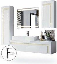 Badmöbel Komplettset Aloha, Korpus in Weiß matt / Fronten in Weiß Hochglanz mit Absetzungen in Creme Hochglanz, mit Aufsatzwaschbecken, Armatur (M2) und LED Spiegel