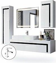 Badmöbel Komplettset Aloha, Korpus in Weiß matt / Fronten in Weiß Hochglanz mit Absetzungen in Schwarz Hochglanz, mit Aufsatzwaschbecken, Armatur (M1) und LED Spiegel