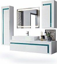 Badmöbel Komplettset Aloha, Korpus in Weiß matt / Fronten in Weiß Hochglanz mit Absetzungen in Petrol Hochglanz, mit Aufsatzwaschbecken und LED Spiegel
