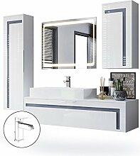 Badmöbel Komplettset Aloha, Korpus in Weiß matt / Fronten in Weiß Hochglanz mit Absetzungen in Grau Hochglanz, mit Aufsatzwaschbecken, Armatur (M3) und LED Spiegel