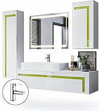 Badmöbel Komplettset Aloha, Korpus in Weiß matt / Fronten in Weiß Hochglanz mit Absetzungen in Limette Hochglanz, mit Aufsatzwaschbecken, Armatur (M2) und LED Spiegel