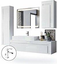 Badmöbel Komplettset Aloha, Korpus in Weiß matt / Fronten in Weiß Hochglanz mit Absetzungen in Weiß Hochglanz, mit Aufsatzwaschbecken, Armatur (M1) und LED Spiegel