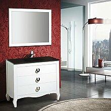 Badmöbel London 100 cm - Weiß Gerbrochen, Glasauflage Königsblau