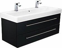Badmöbel mit Keramag Icon Waschbecken 120 cm schwarz seidenglanz