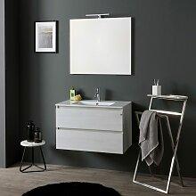 Badmöbel Mit Keramik Waschbecken 80Cm Mit Spiegel