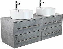 Badmöbel Novum XL Beton mit Aufsatzwaschbecken