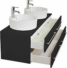 Badmöbel Novum XL schwarz seidenglanz mit Aufsatzwaschbecken