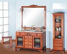 Badmöbel Real 140 cm rustikal aus kiefernholz und edler schnitzerei. inkl. waschbecken, spiegel und beleuchtung - Wengue