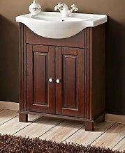 Badmöbel RETRO 65 mit Waschbecken MASSIVHOLZ BRAUN verschiedene Kombinationen (Waschbecken Waschbeckenunterschrank)